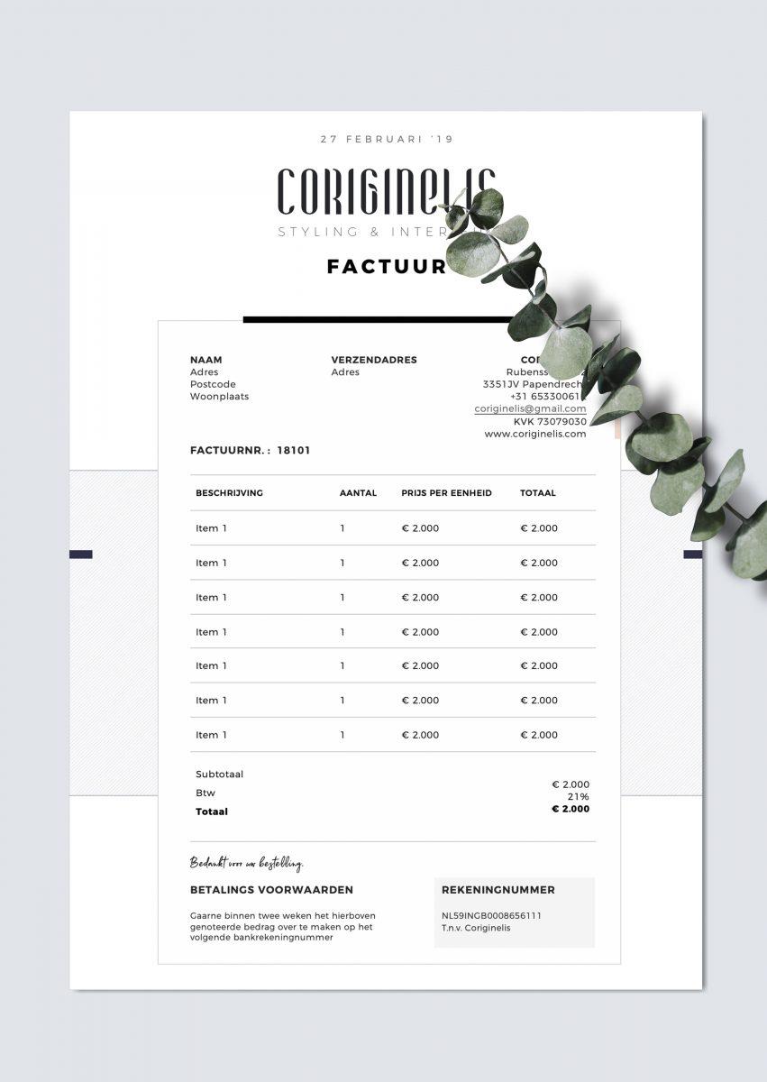 Branding voor Coriginelis, interieur en styling